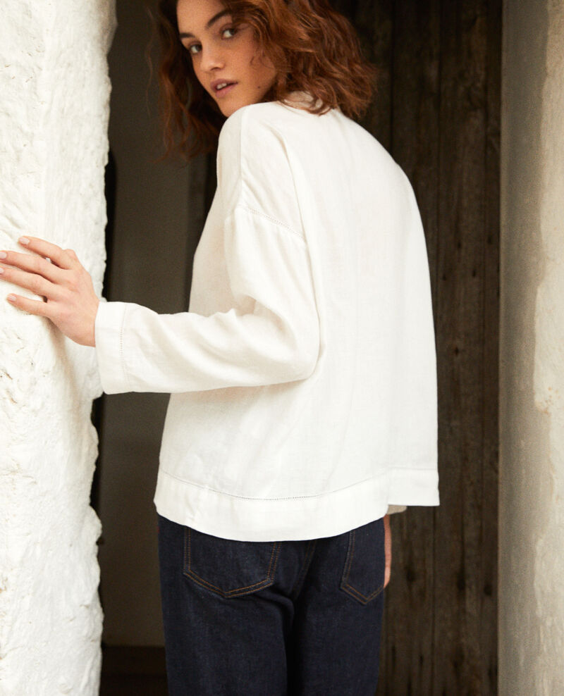 Linen blouse with Mao collar Off white 9izera