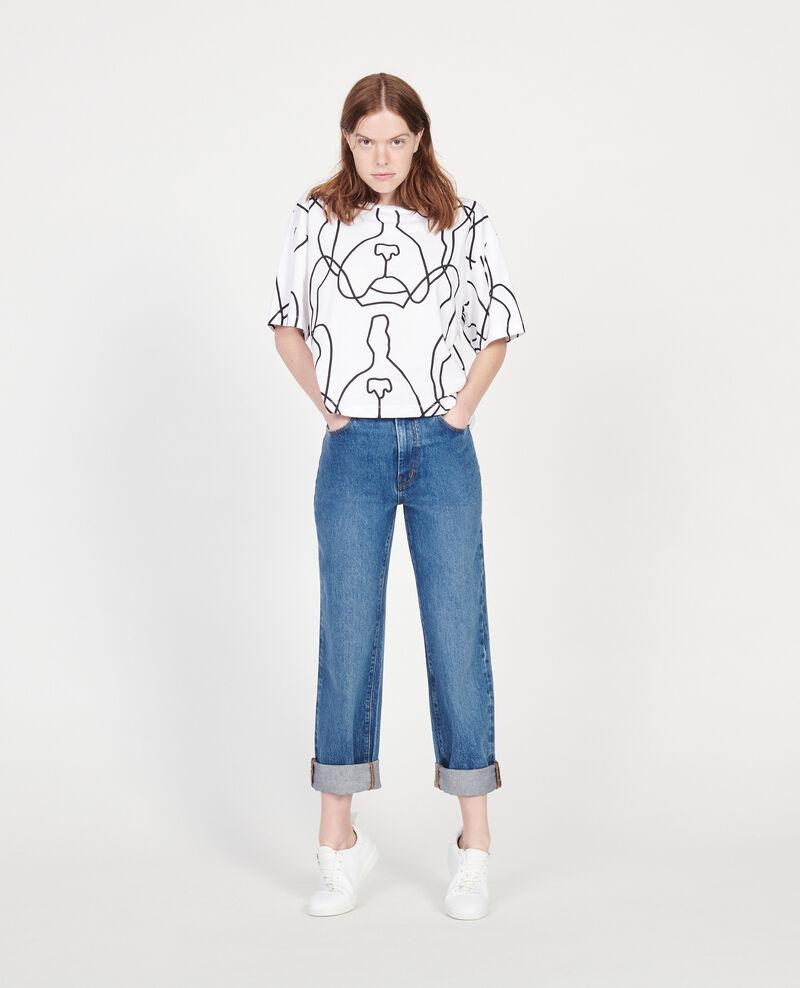Printed cotton t-shirt Optical white Lacauchie