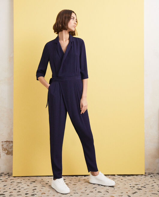 Deep neck jumpsuit Bleu marine