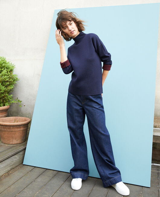 Double-sided merino wool jumper Blue
