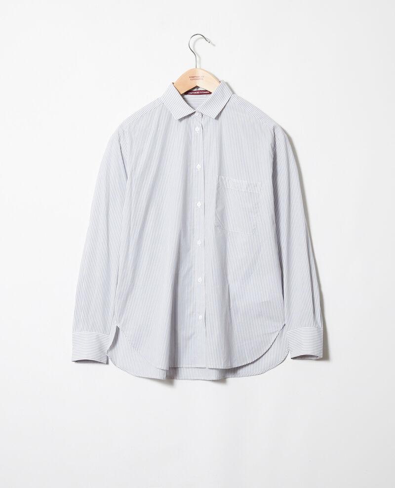 Striped cotton shirt Ss navy Jadori