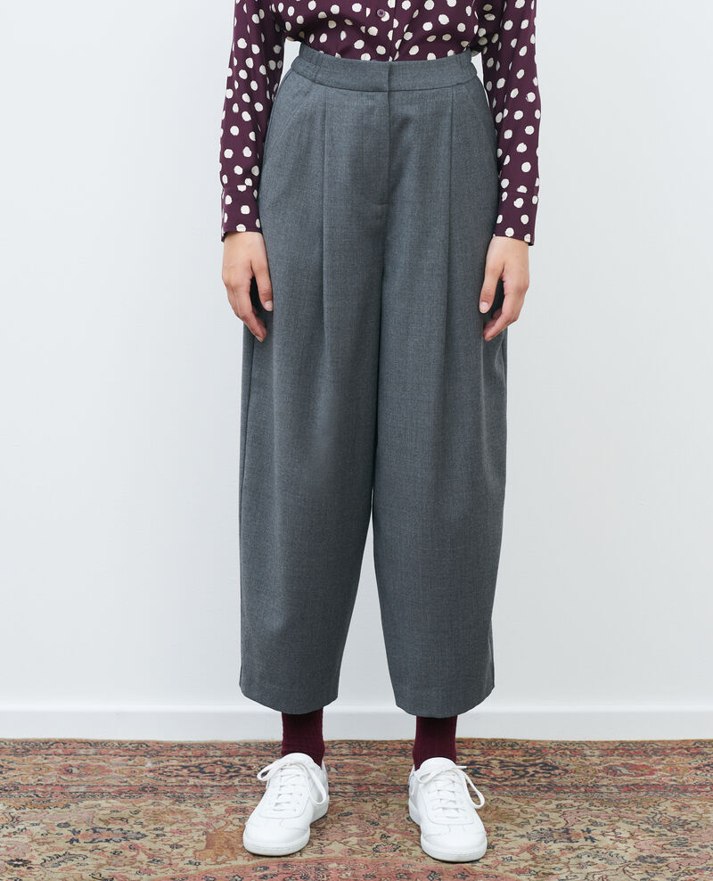 SYDONIE - BALLOON - tight-fit trousers Medium grey melange Paluges