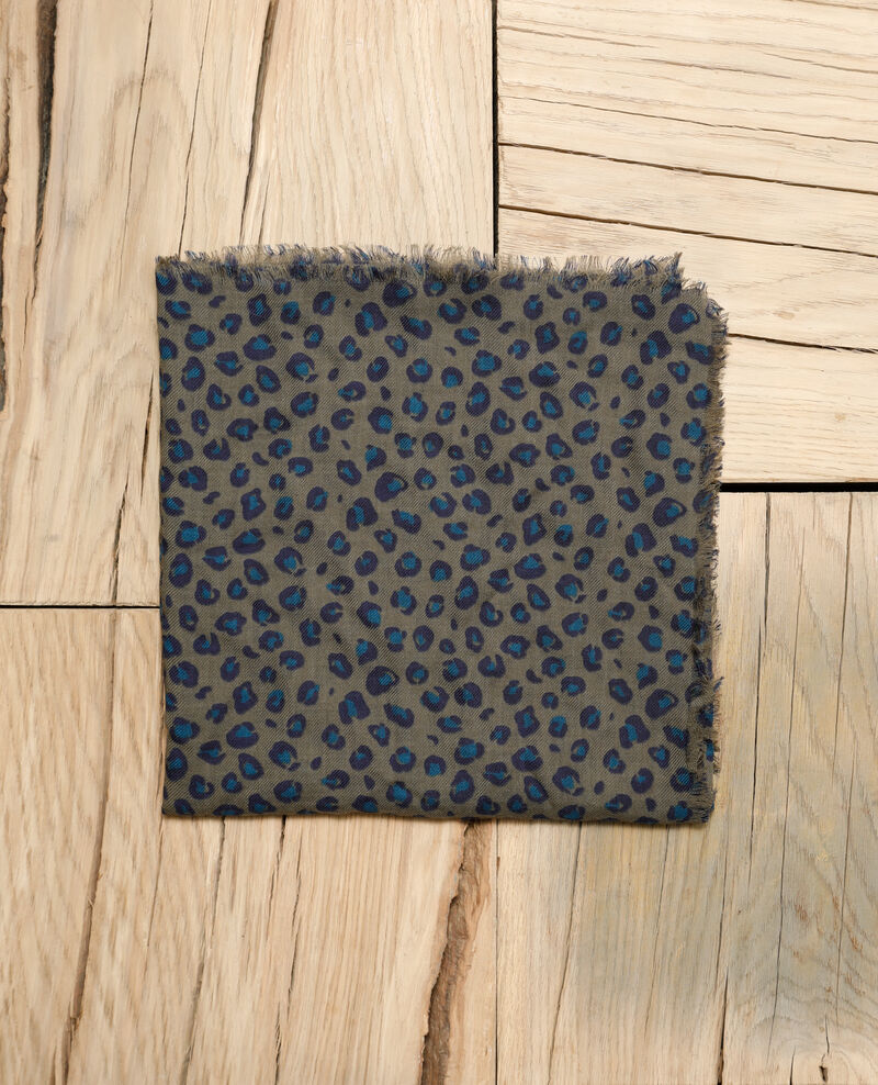 Printed wool scarf Blue leopard olive night Grae