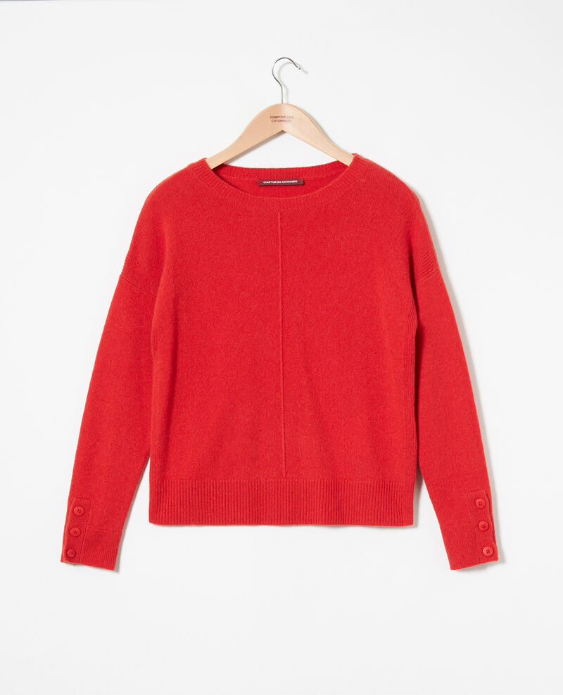 Jumper with buttons on the sleeves 100% cashmere Molten lava Jypie