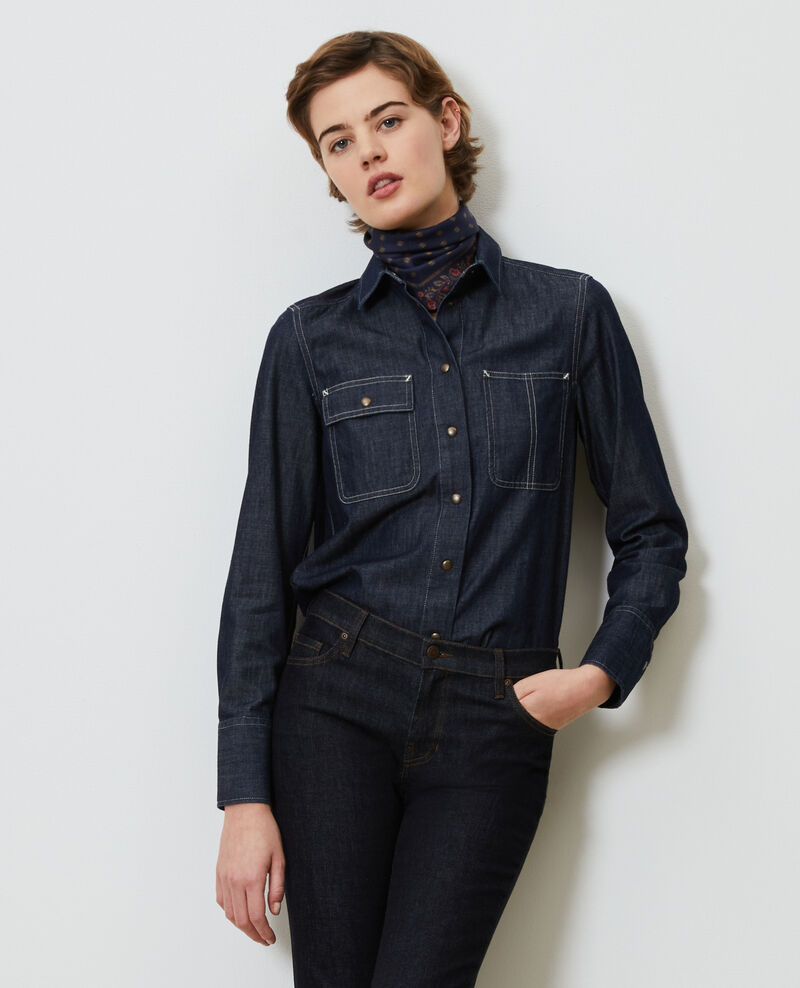 Denim shirt with asymmetric pockets Denim brut Madigna