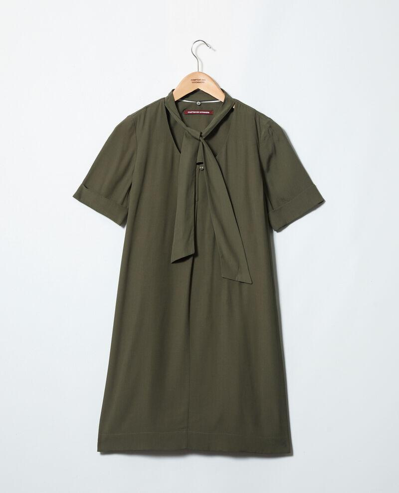 Robe avec lavallière amovible Cheng olive 9iolandi