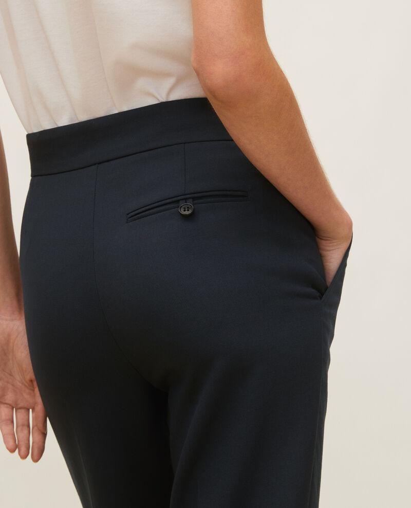 Straight wool boyfriend trousers MARCELLE Dark navy Lisabelle