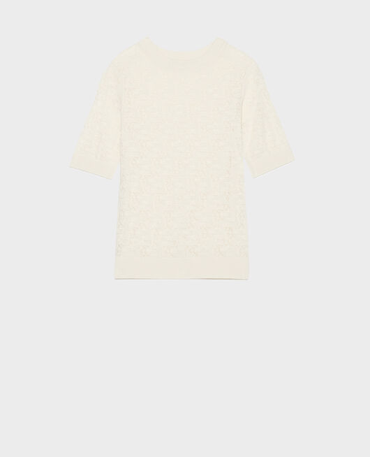 Rib knit t-shirt BUTTERCREAM