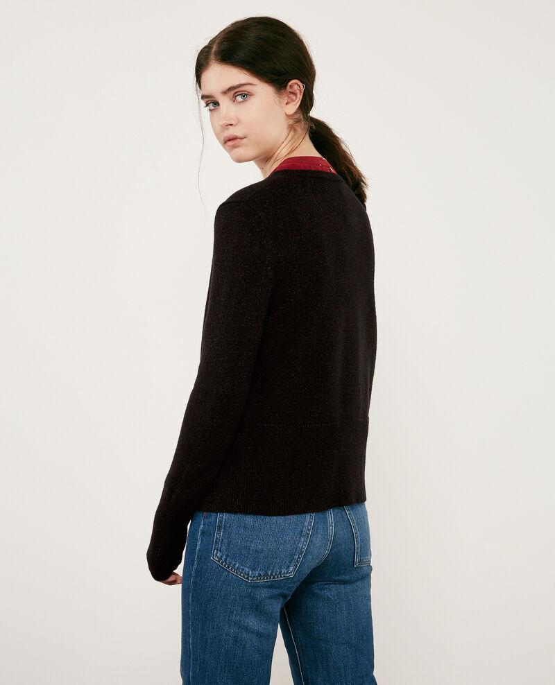 Wool blend shimmering cardigan Noir Donovan