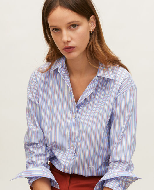 Cotton boyfriend shirt POPELINE STRIPES