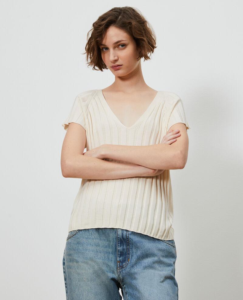 3D rib knit jumper Buttercream Loupy