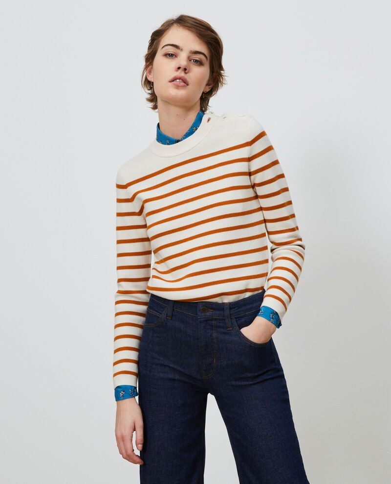MADDY - Striped wool jumper Stp_grd_pumkn Liselle