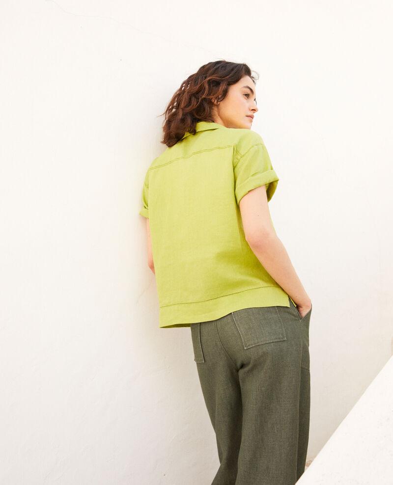 Open collar linen shirt Lime green Ilage
