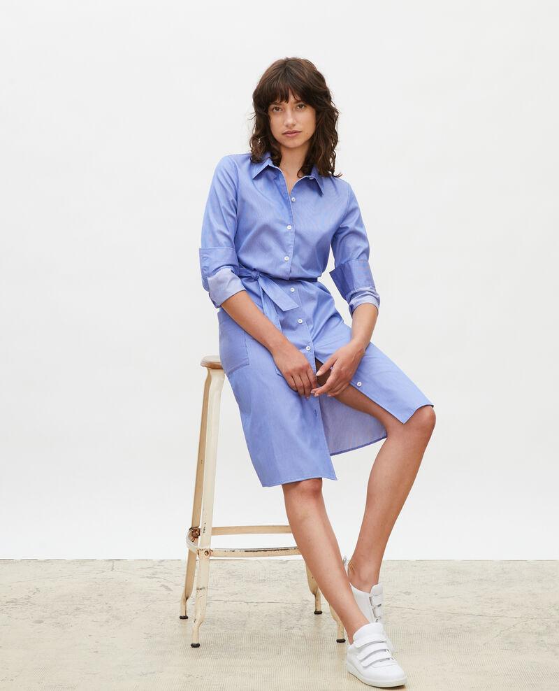 Cotton belted shirt dress Blue as proto Mezeres