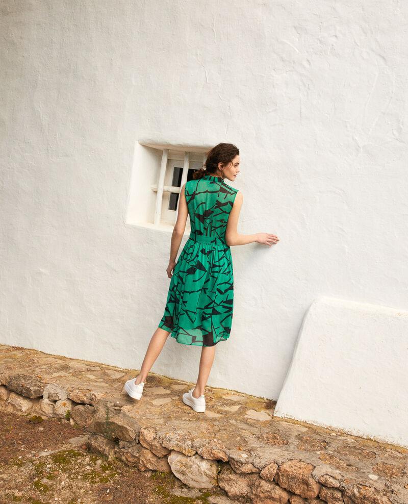 Printed dress Primitive lines green Icran