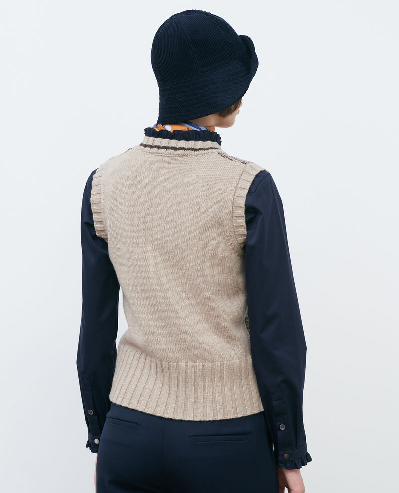 Sleeveless jacquard new wool jumper Jaqrd latte Pavilly