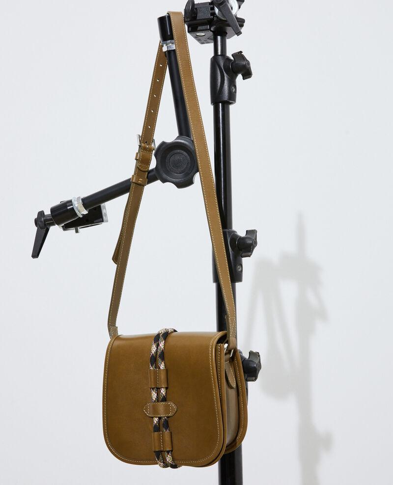 Small leather shoulder bag Dark olive Peretbelair
