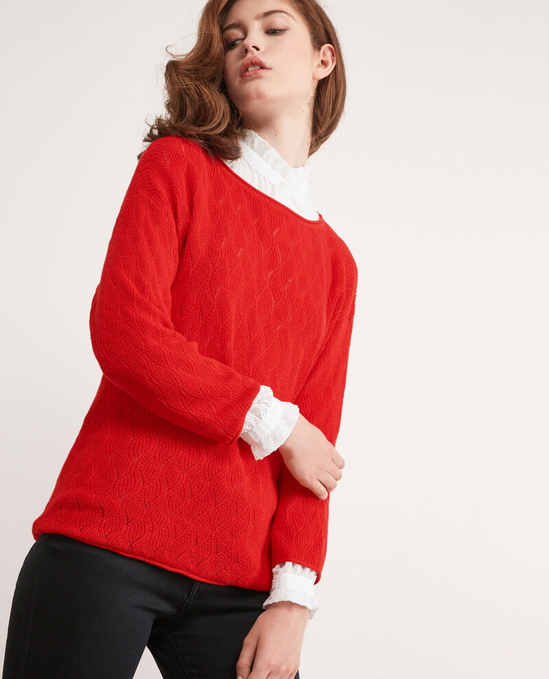 Jumper with 3/4 cropped sleeves Orange red Dream