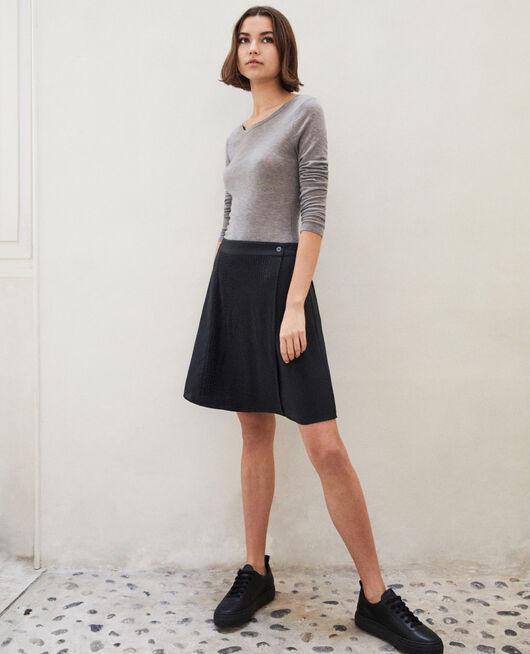 Mini skirt with buckle NOIR