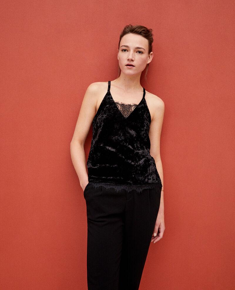 Velvet vest with lace Black Gloriane