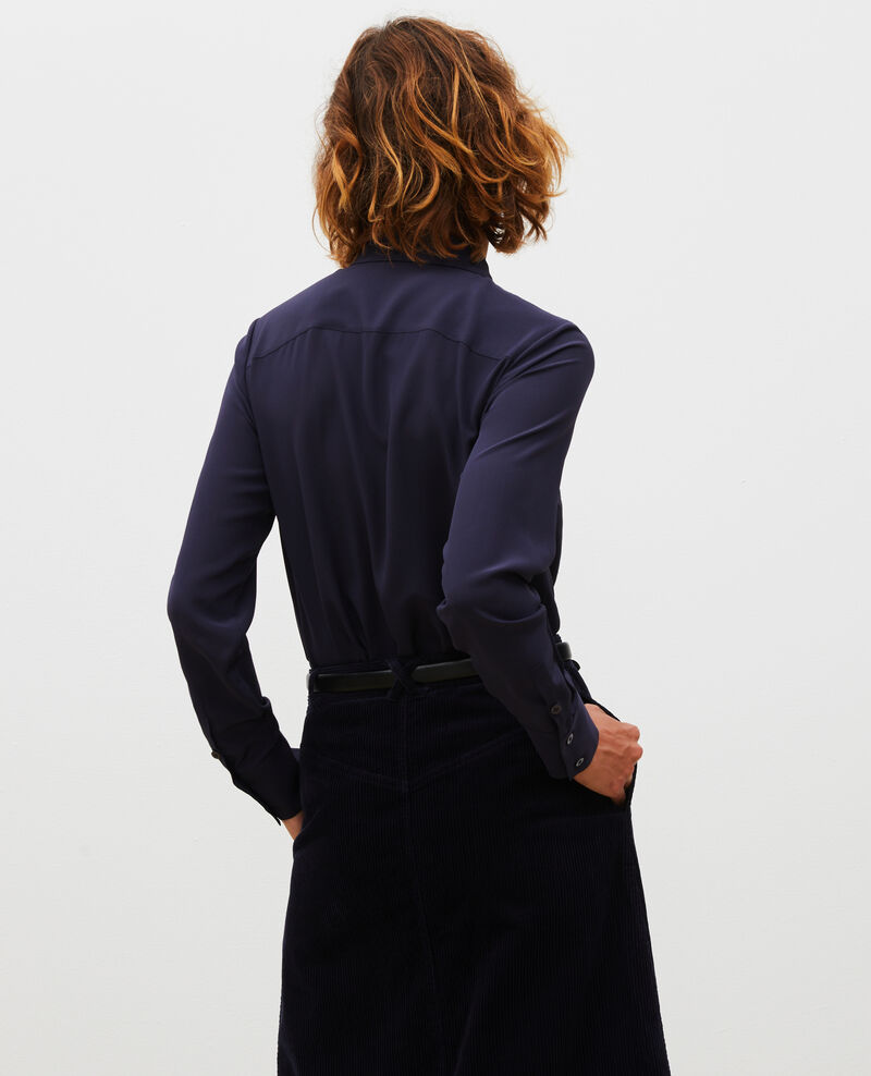 Loose long-sleeve silk shirt Night sky Misabetha