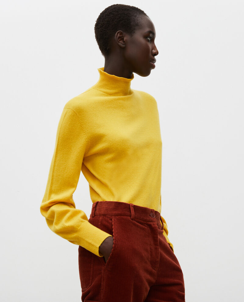 3D fine cashmere turtleneck jumper Lemon curry Mane