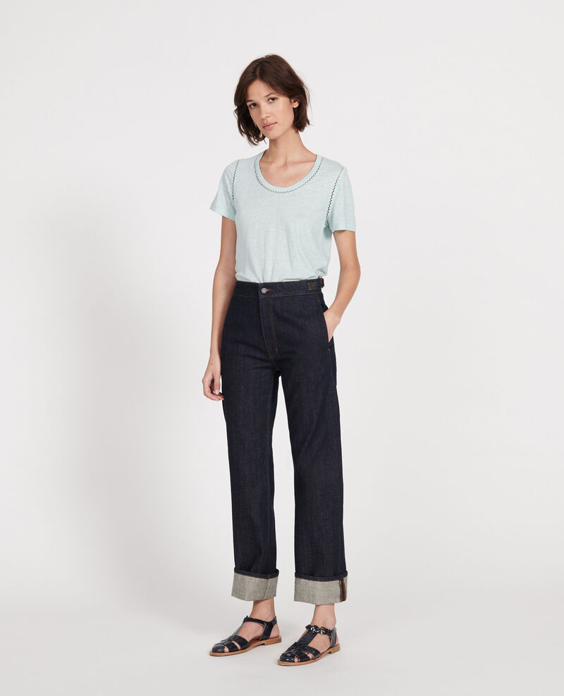 Linen T-shirt Blue haze Lye