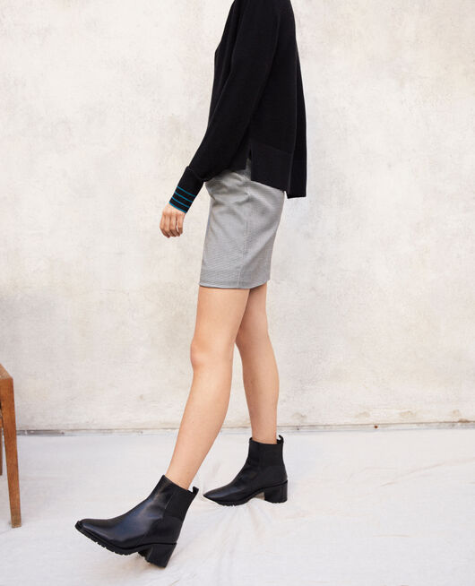 6850ffd2e189 Smooth leather ankle boots NOIR