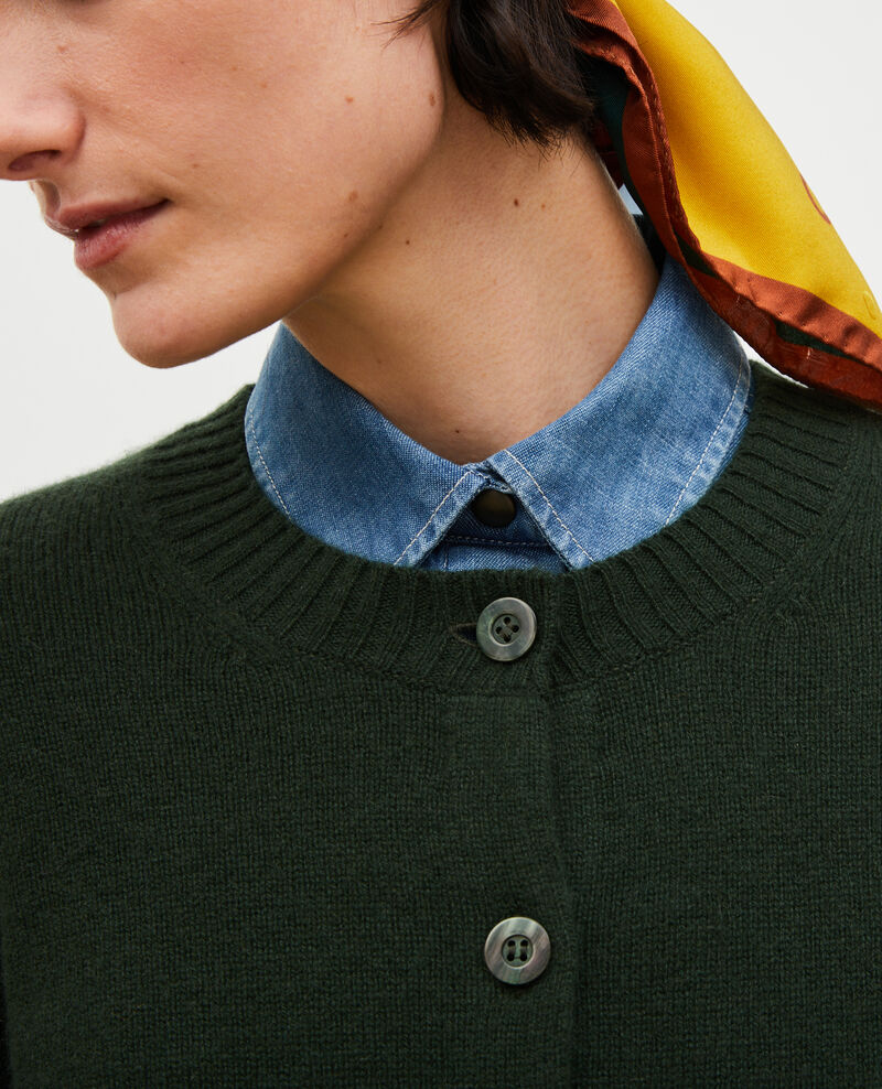 Round neck cashmere cardigan Military green Marolle