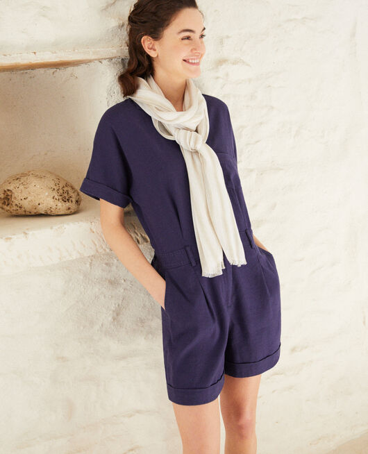 Linen blend scarf SAND BEIGE/W