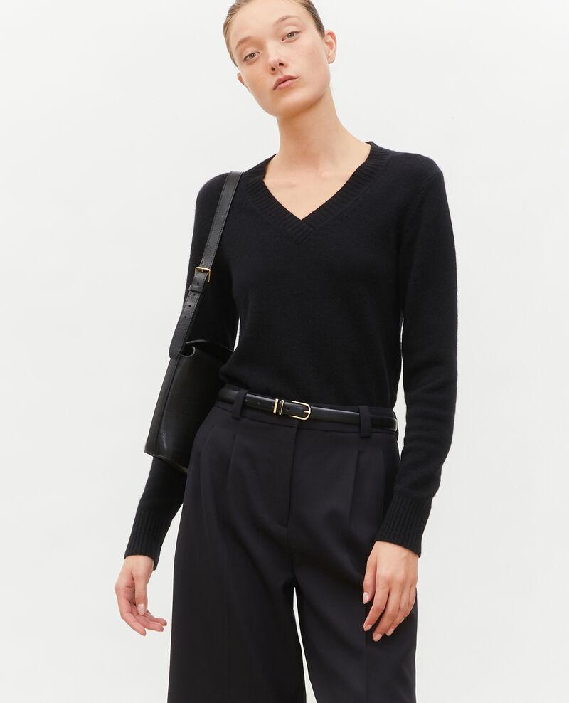 V-neck cashmere jumper Black beauty Millac