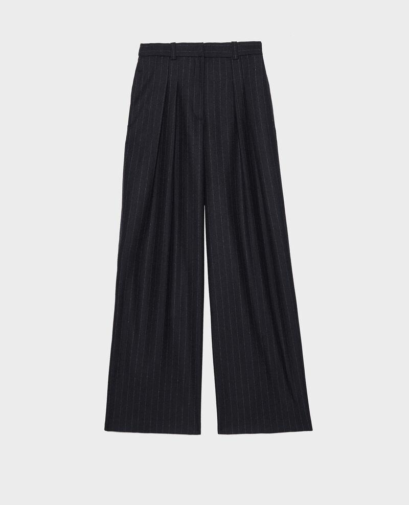 High waisted wide wool trousers YVONNE Stripes night sky Mefari