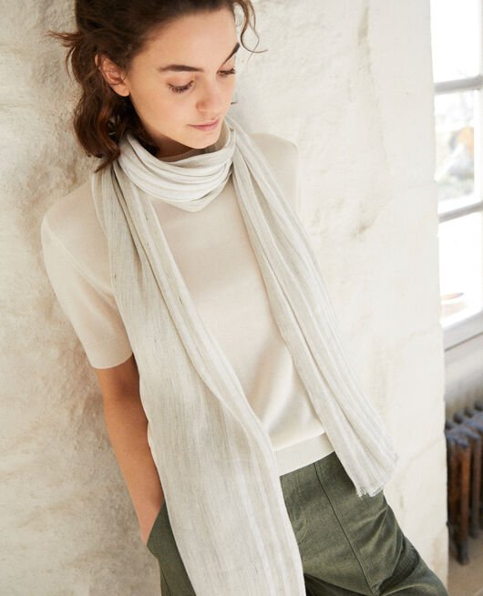 Linen blend scarf LIGHT GREY/W