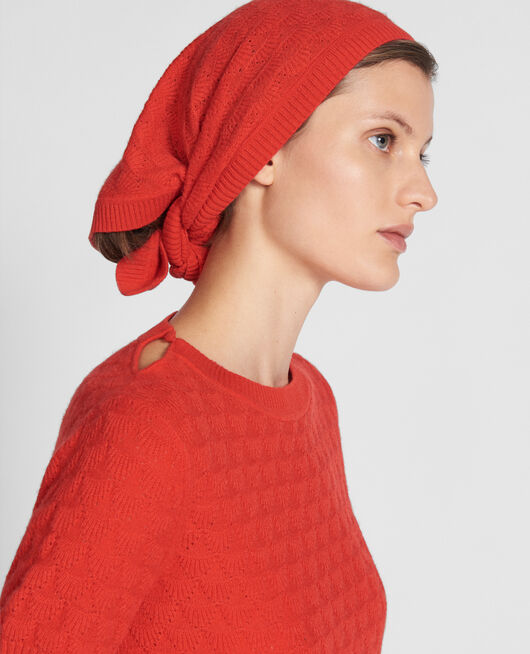 100% Cashmere headscarf FIERY RED