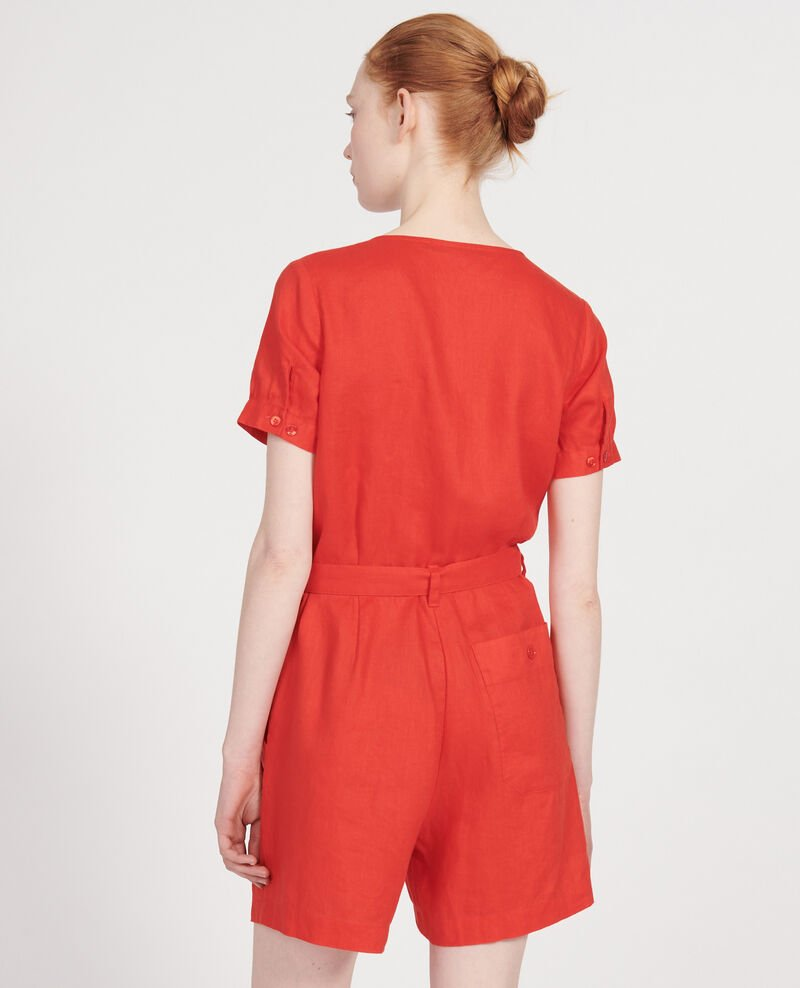 Linen playsuit Fiery red Lariona