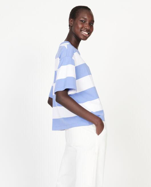 Mercerised cotton oversize striped t-shirt STR OPTICALWHITE PERSIANJEWELS