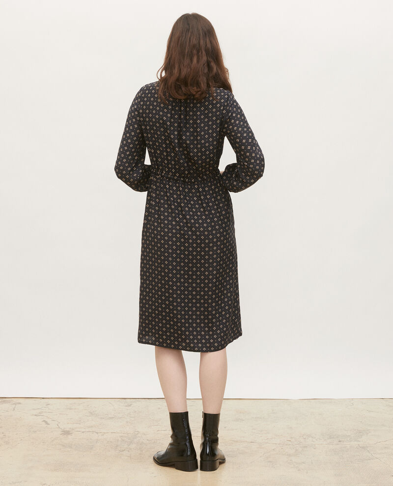 Loose silk dress Print mosaique black Megrisa
