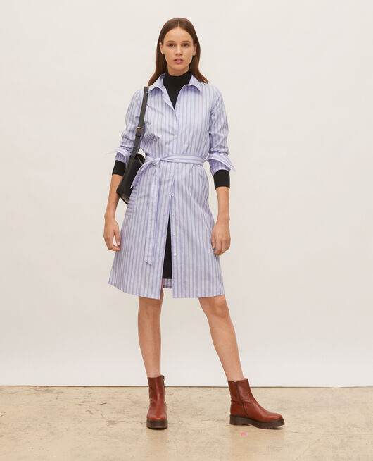 Cotton belted shirt dress POPELINE STRIPES