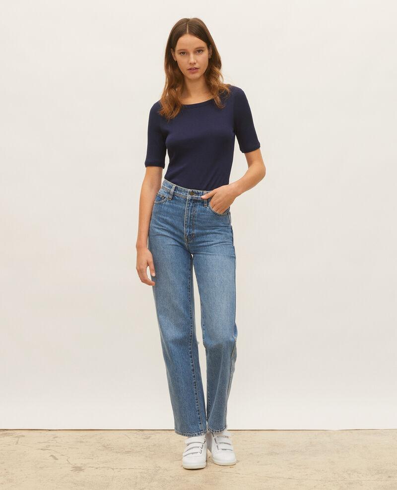 Mercerised cotton ribbed t-shirt Maritime blue Lasso