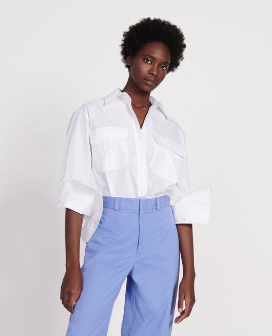 Cotton poplin shirt OPTICAL WHITE