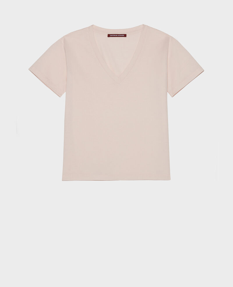 V-neck cotton t-shirt Primrose pink Laberne