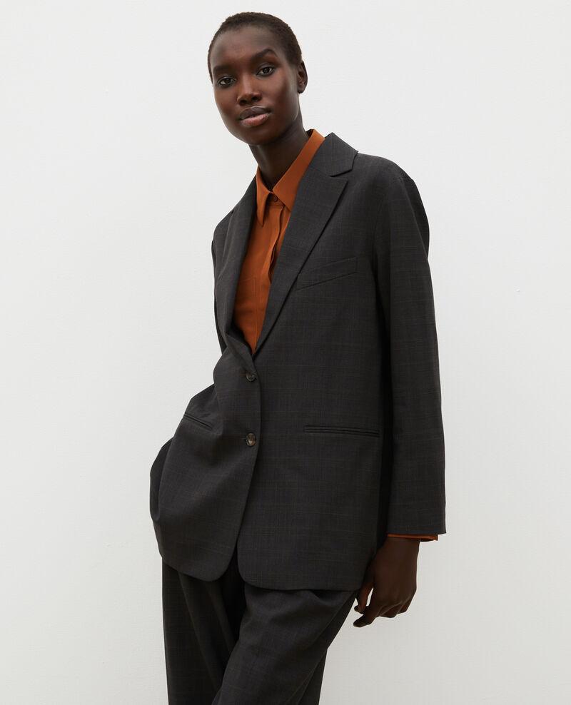 Prince of Wales wool boyfriend blazer Check-wool-pattern-tailoring Marblou