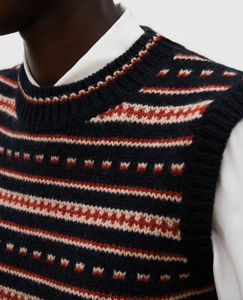 Sleeveless alpaca wool jacquard jumper Black brandy lighttaupe jacquard Moiran