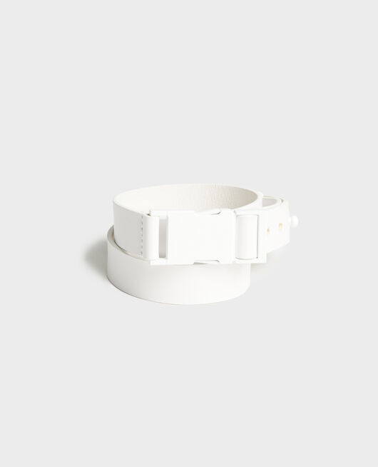 Leather belt OPTICAL WHITE