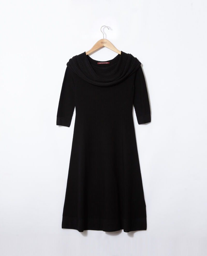 Wholegarment dress with adjustable collar Black Gamelie