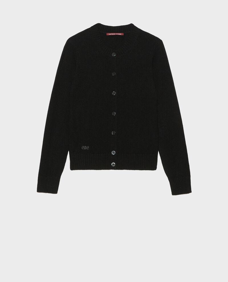 Round neck cashmere cardigan Black beauty Marolle