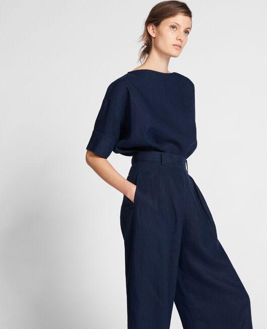 Linen blouse MARITIME BLUE