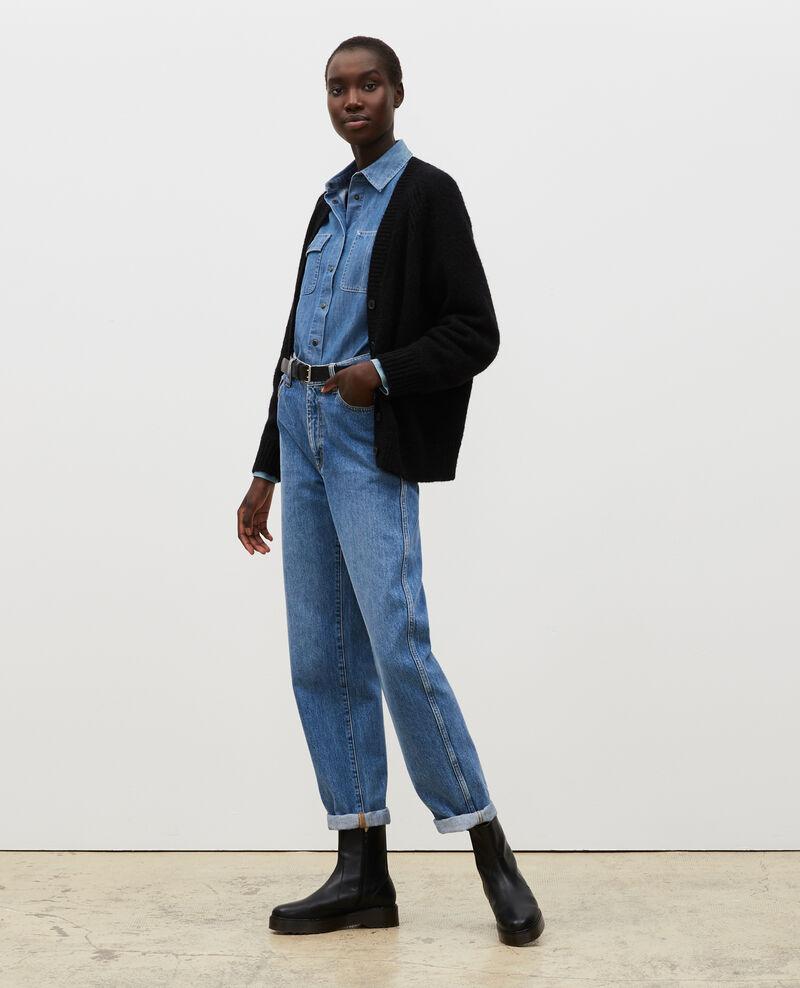 Oversize V-neck wool cardigan Black beauty Montfuji