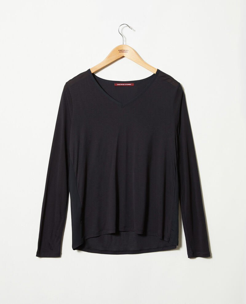 Bimaterial T-shirt Noir Janga