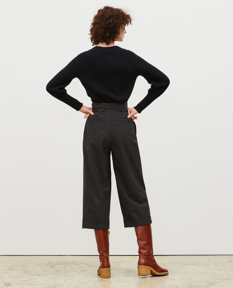 Cropped Prince of Wales wool trousers with turn ups Check-wool-pattern-tailoring Mirboz